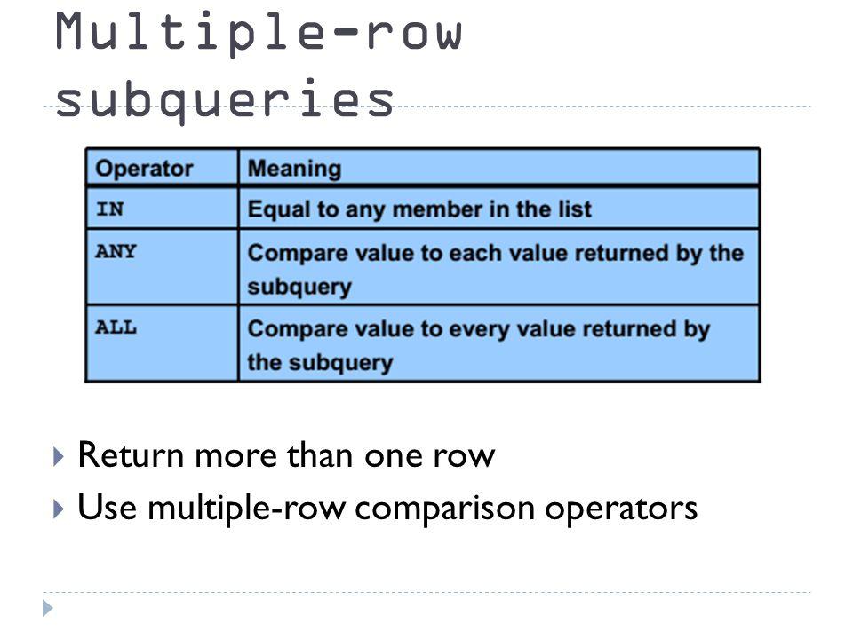 Multiple-row subqueries