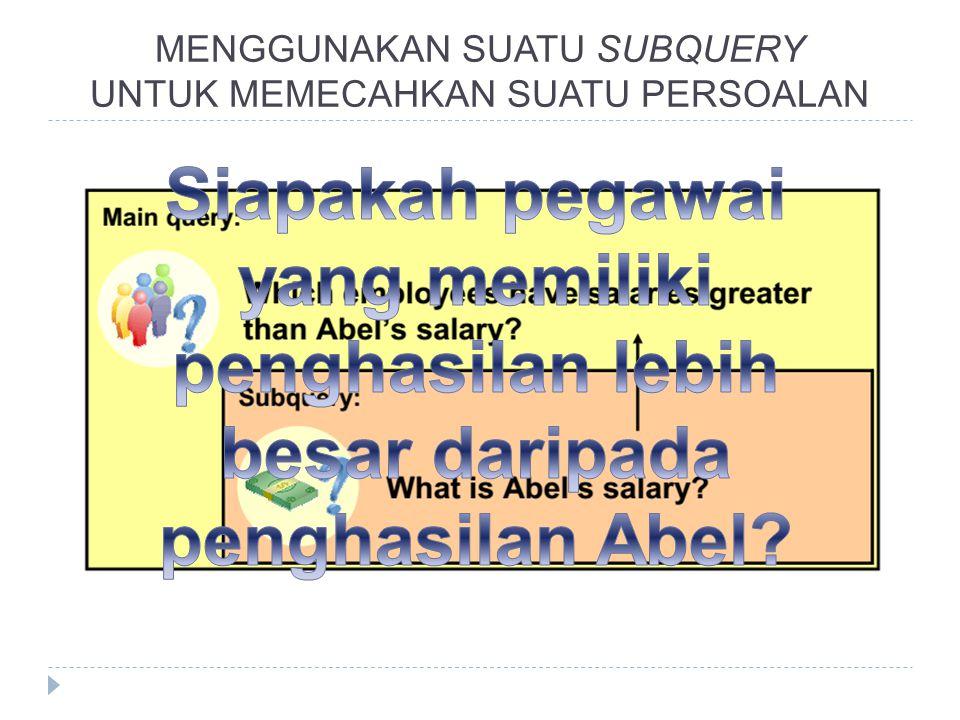 Siapakah pegawai yang memiliki penghasilan lebih besar daripada penghasilan Abel