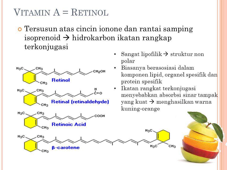 Vitamin A = Retinol Tersusun atas cincin ionone dan rantai samping isoprenoid  hidrokarbon ikatan rangkap terkonjugasi.