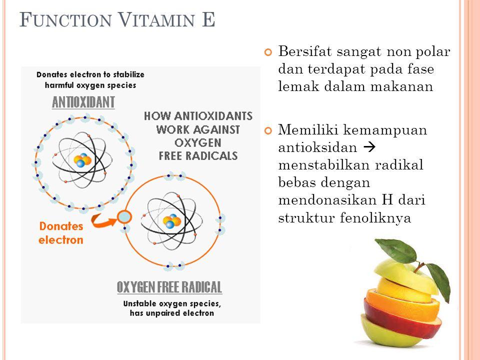 Function Vitamin E Bersifat sangat non polar dan terdapat pada fase lemak dalam makanan.