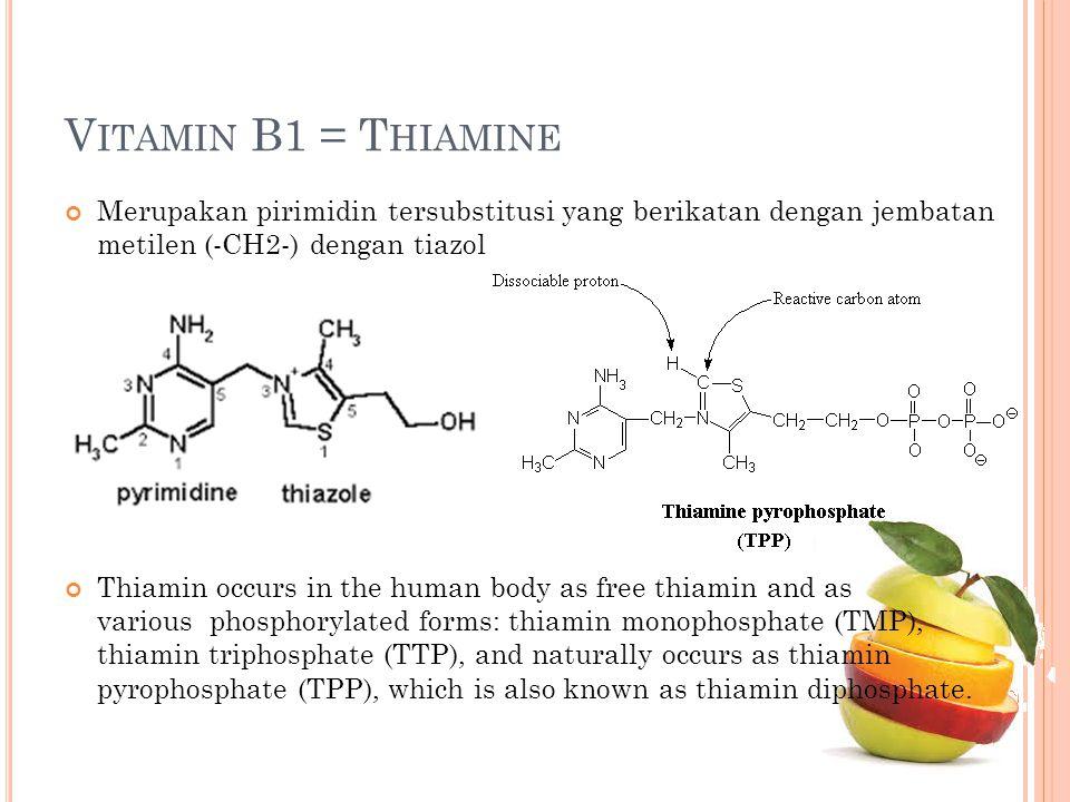 Vitamin B1 = Thiamine Merupakan pirimidin tersubstitusi yang berikatan dengan jembatan metilen (-CH2-) dengan tiazol.