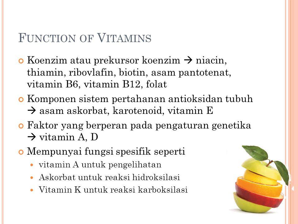 Function of Vitamins Koenzim atau prekursor koenzim  niacin, thiamin, ribovlafin, biotin, asam pantotenat, vitamin B6, vitamin B12, folat.