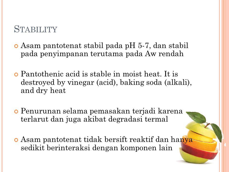 Stability Asam pantotenat stabil pada pH 5-7, dan stabil pada penyimpanan terutama pada Aw rendah.