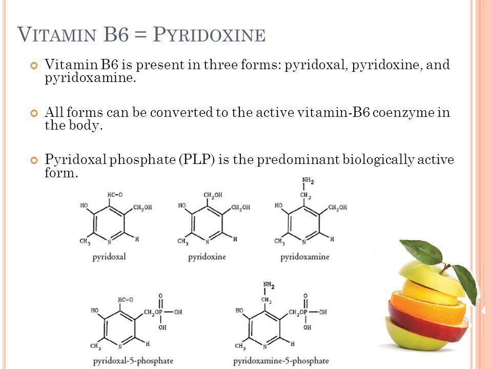 Vitamin B6 = Pyridoxine Vitamin B6 is present in three forms: pyridoxal, pyridoxine, and pyridoxamine.