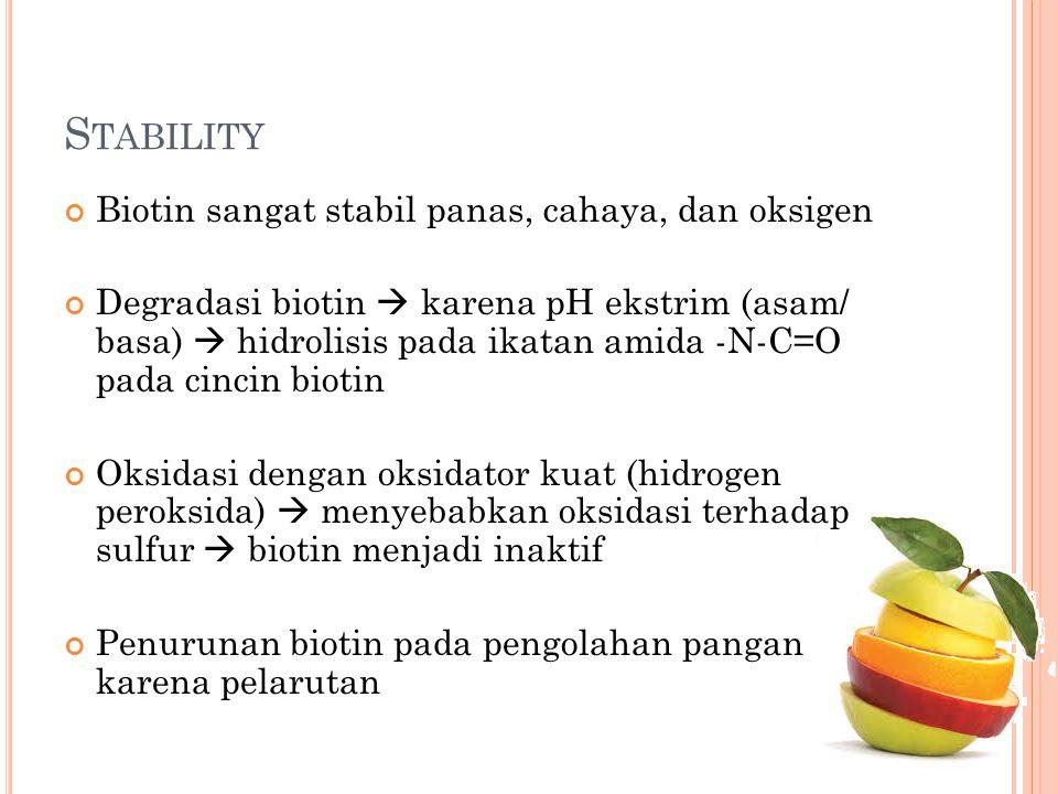 Stability Biotin sangat stabil panas, cahaya, dan oksigen
