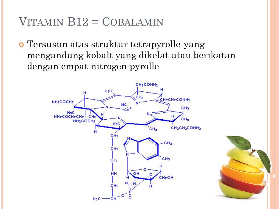 Vitamin B12 = Cobalamin Tersusun atas struktur tetrapyrolle yang mengandung kobalt yang dikelat atau berikatan dengan empat nitrogen pyrolle.