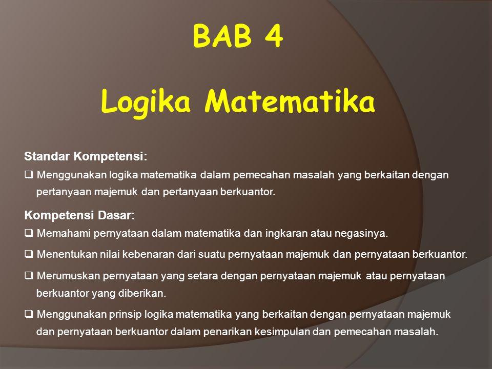 BAB 4 Logika Matematika Standar Kompetensi: Kompetensi Dasar: