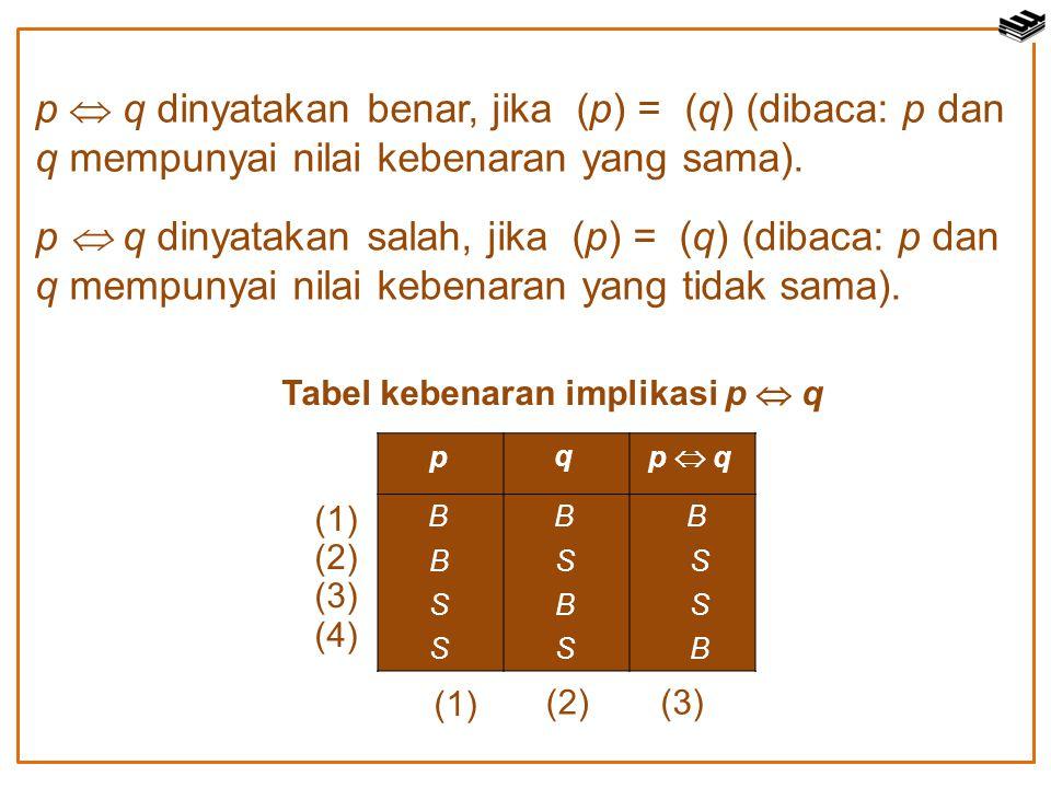 p  q dinyatakan benar, jika (p) = (q) (dibaca: p dan q mempunyai nilai kebenaran yang sama).