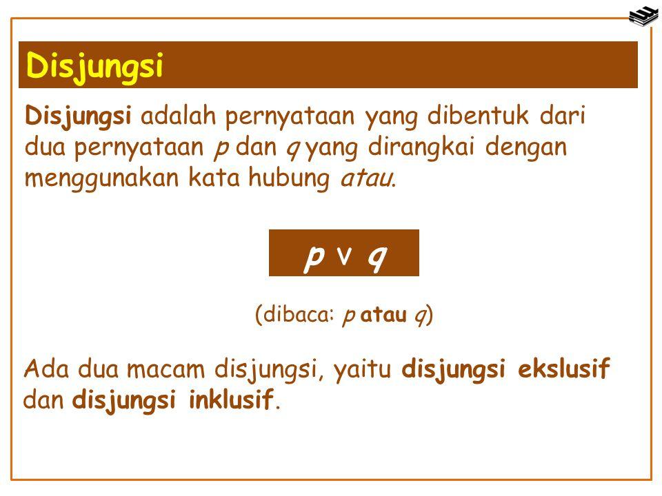 Disjungsi Disjungsi adalah pernyataan yang dibentuk dari dua pernyataan p dan q yang dirangkai dengan menggunakan kata hubung atau.