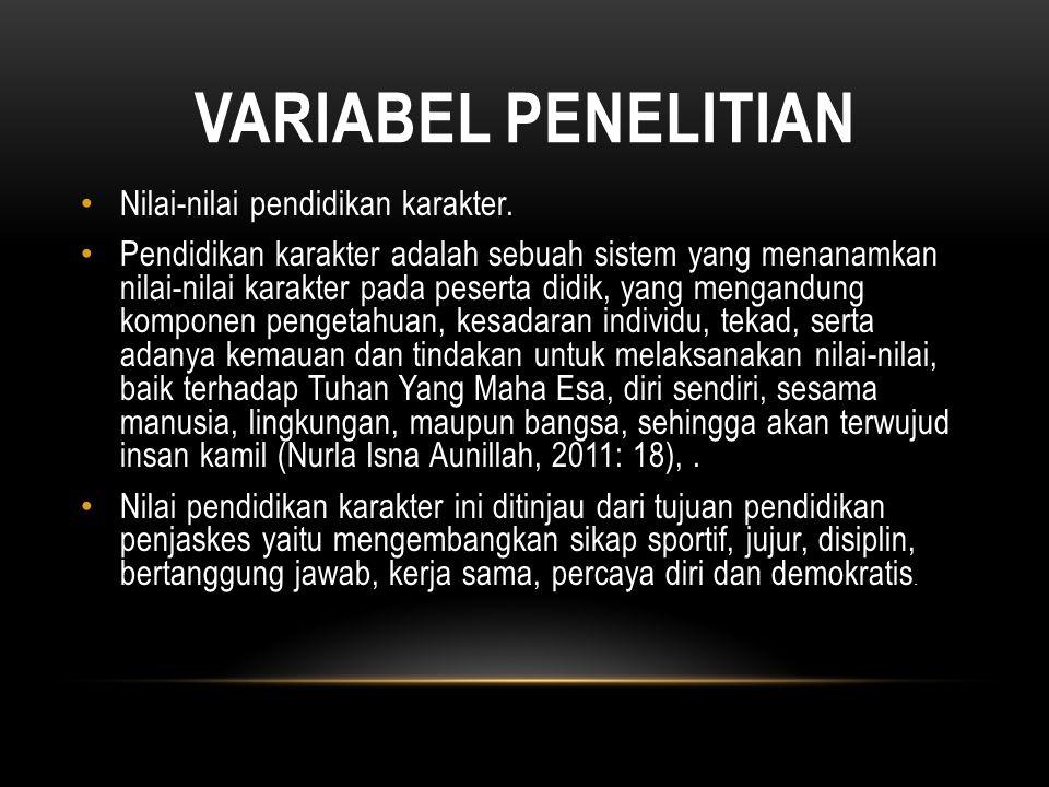 VARIABEL PENELITIAN Nilai-nilai pendidikan karakter.