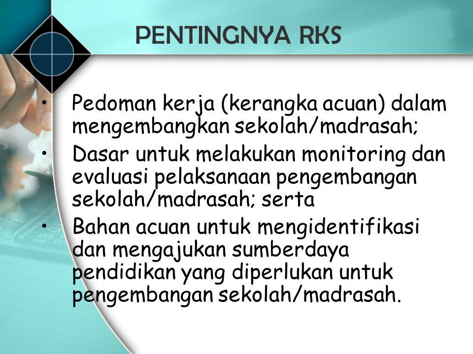 PENTINGNYA RKS Pedoman kerja (kerangka acuan) dalam mengembangkan sekolah/madrasah;