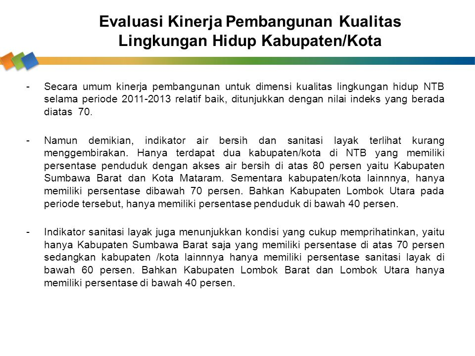 Evaluasi Kinerja Pembangunan Kualitas Lingkungan Hidup Kabupaten/Kota