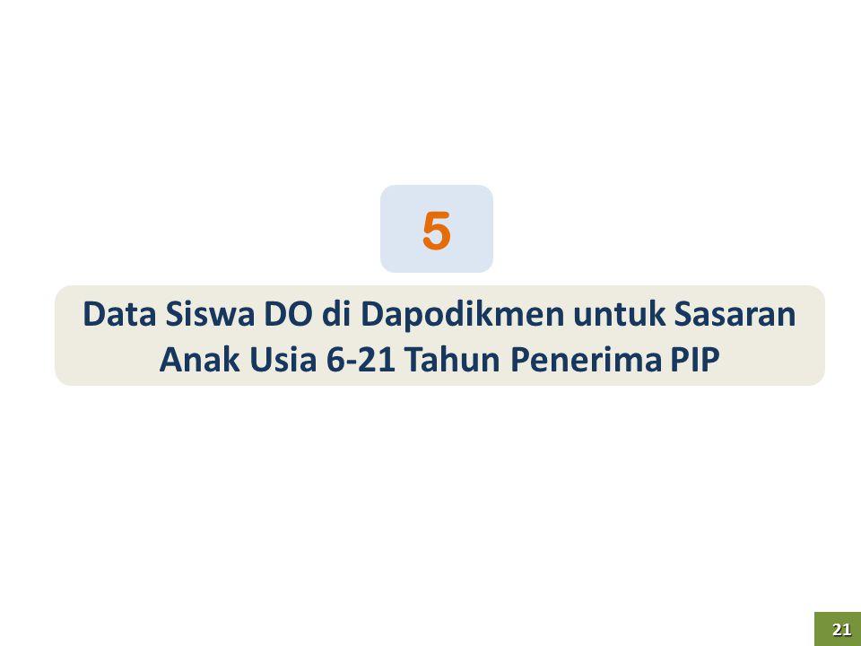 5 Data Siswa DO di Dapodikmen untuk Sasaran Anak Usia 6-21 Tahun Penerima PIP 21