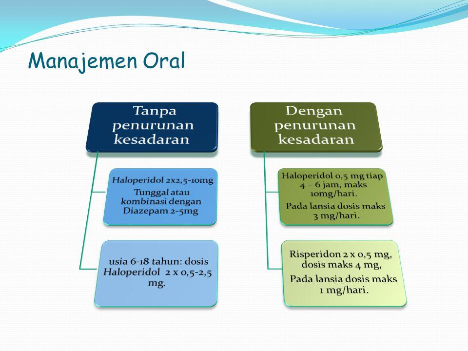 Manajemen Oral Tanpa penurunan kesadaran Dengan penurunan kesadaran