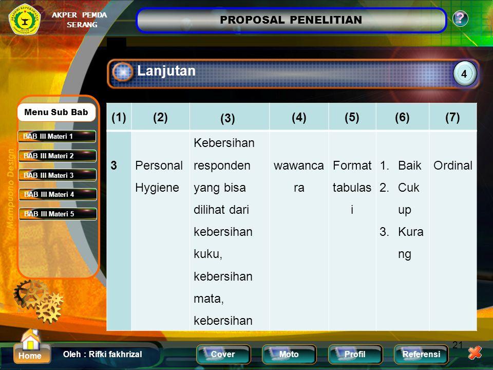 Lanjutan (1) (2) (3) (4) (5) (6) (7) 3 Personal Hygiene
