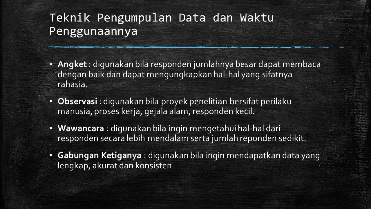 Teknik Pengumpulan Data dan Waktu Penggunaannya