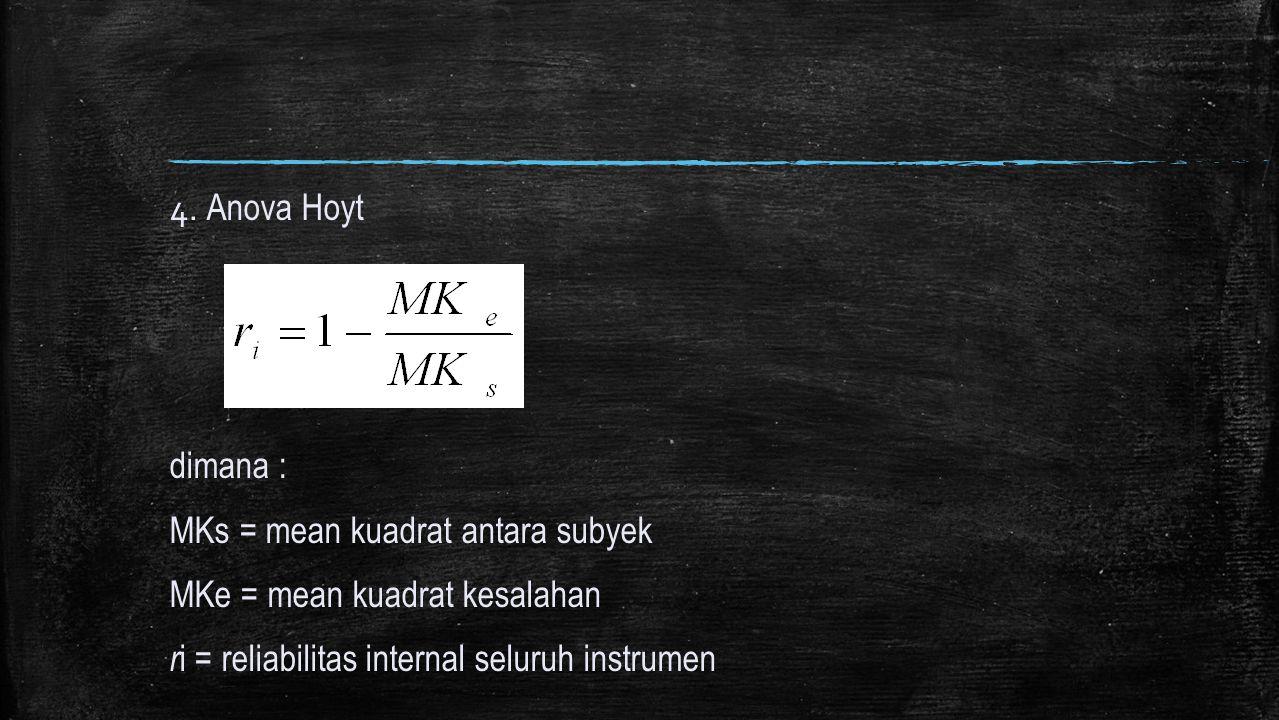 4. Anova Hoyt dimana : MKs = mean kuadrat antara subyek.