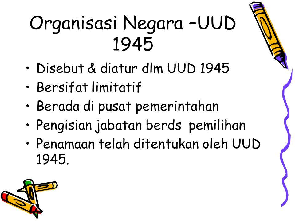 Organisasi Negara –UUD 1945