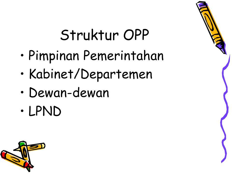 Struktur OPP Pimpinan Pemerintahan Kabinet/Departemen Dewan-dewan LPND