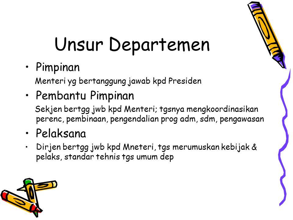 Unsur Departemen Pimpinan Pembantu Pimpinan Pelaksana