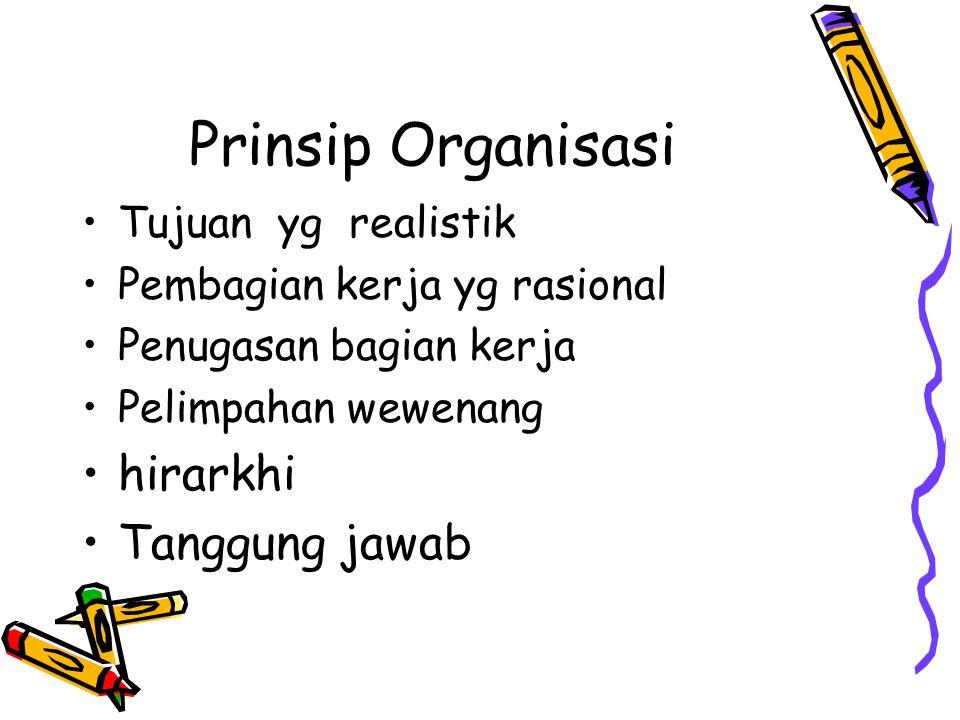 Prinsip Organisasi hirarkhi Tanggung jawab Tujuan yg realistik