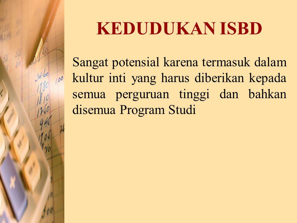 KEDUDUKAN ISBD Sangat potensial karena termasuk dalam kultur inti yang harus diberikan kepada semua perguruan tinggi dan bahkan disemua Program Studi.