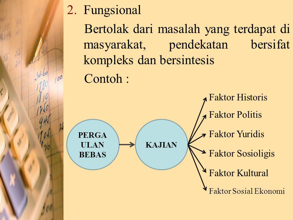 Fungsional Bertolak dari masalah yang terdapat di masyarakat, pendekatan bersifat kompleks dan bersintesis.