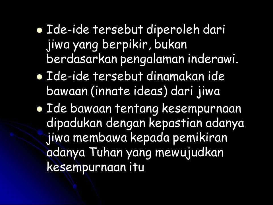 Ide-ide tersebut diperoleh dari jiwa yang berpikir, bukan berdasarkan pengalaman inderawi.