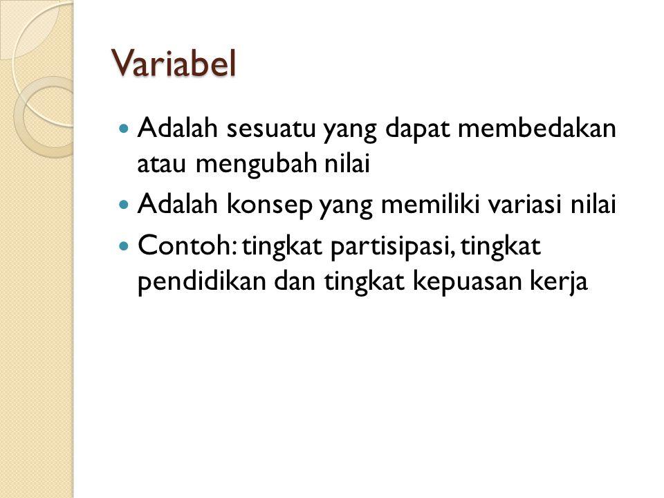 Variabel Adalah sesuatu yang dapat membedakan atau mengubah nilai