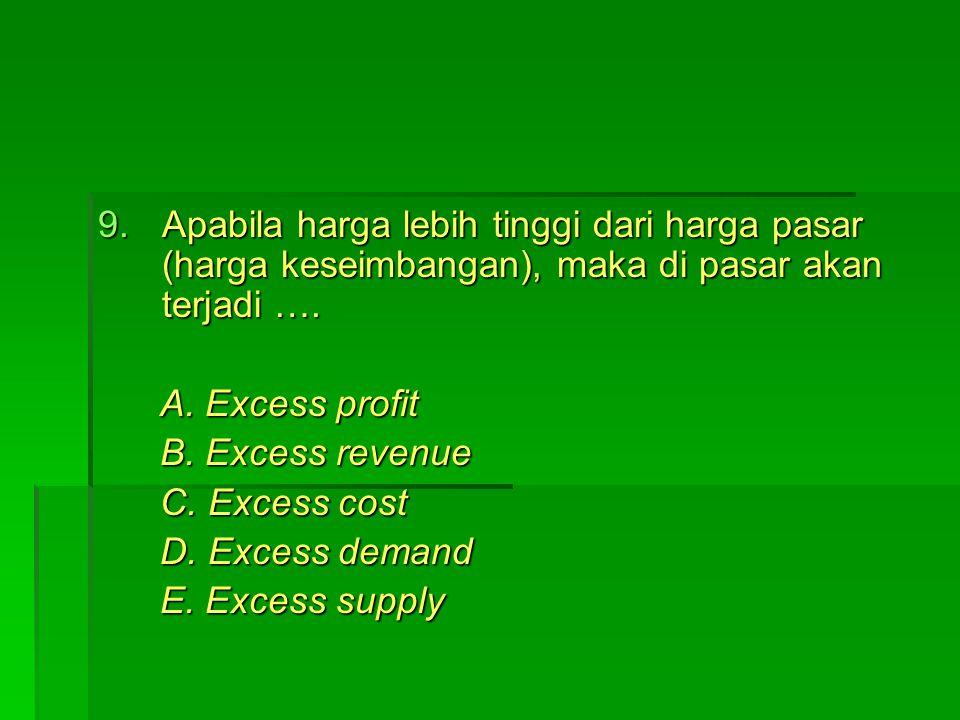 Apabila harga lebih tinggi dari harga pasar (harga keseimbangan), maka di pasar akan terjadi ….