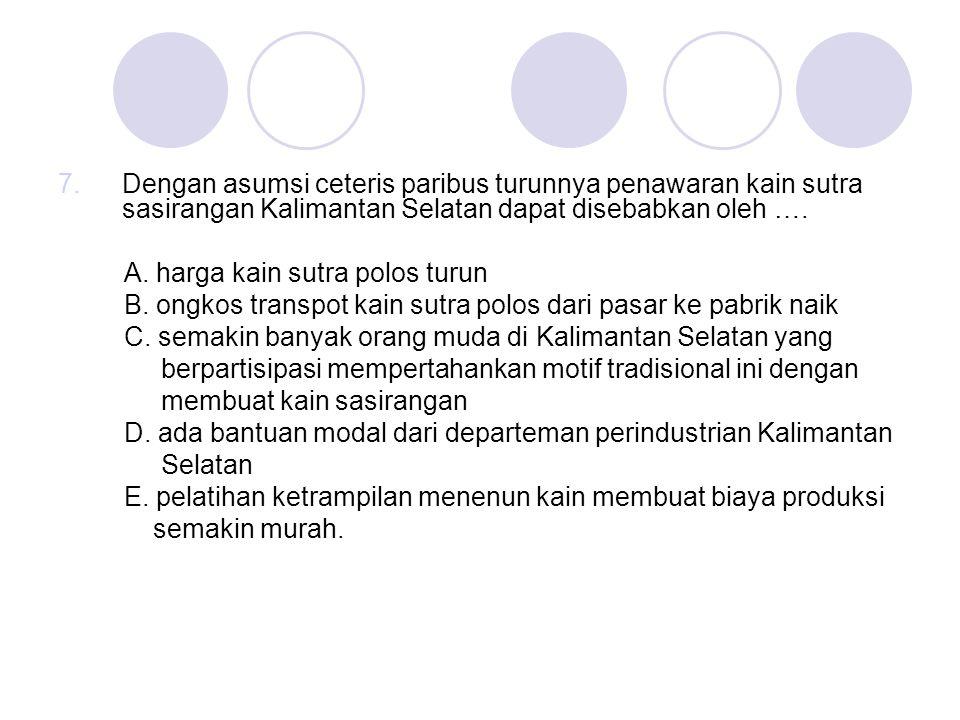 Dengan asumsi ceteris paribus turunnya penawaran kain sutra sasirangan Kalimantan Selatan dapat disebabkan oleh ….