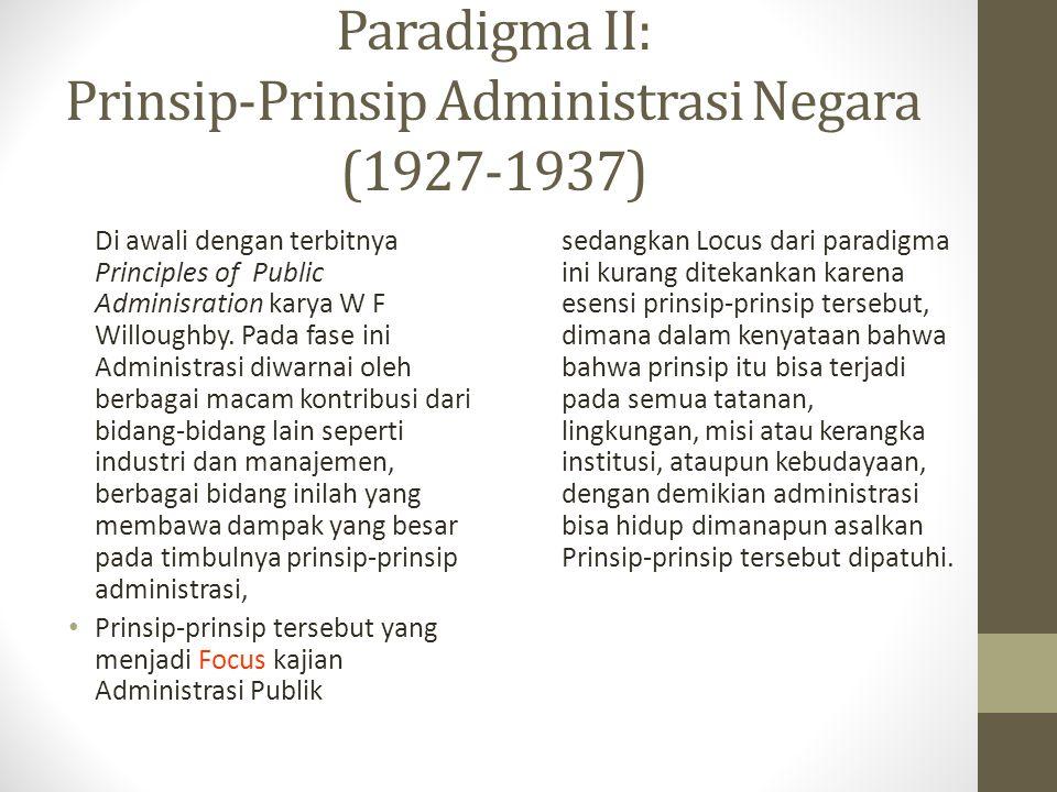 Paradigma II: Prinsip-Prinsip Administrasi Negara (1927-1937)