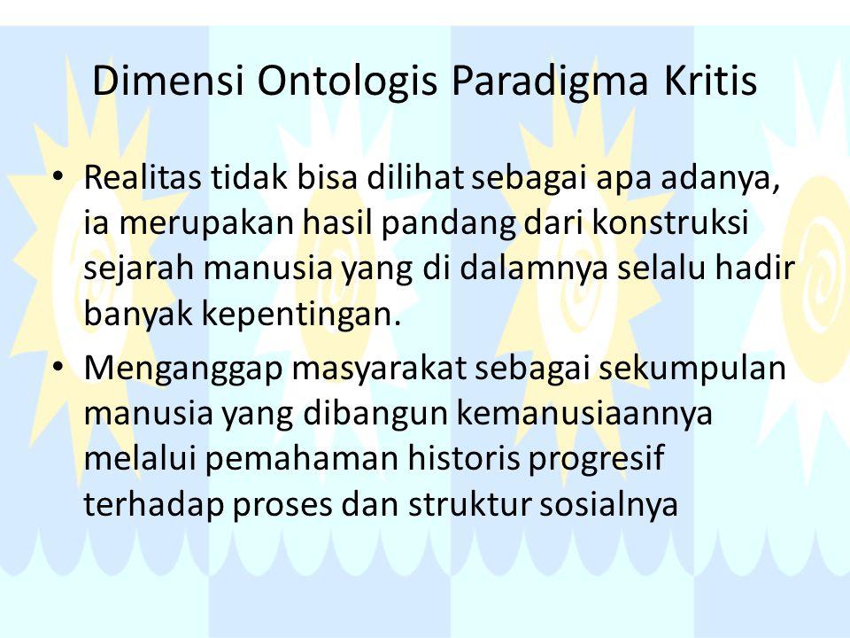 Dimensi Ontologis Paradigma Kritis