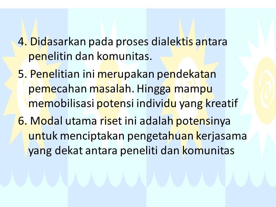 4. Didasarkan pada proses dialektis antara penelitin dan komunitas. 5