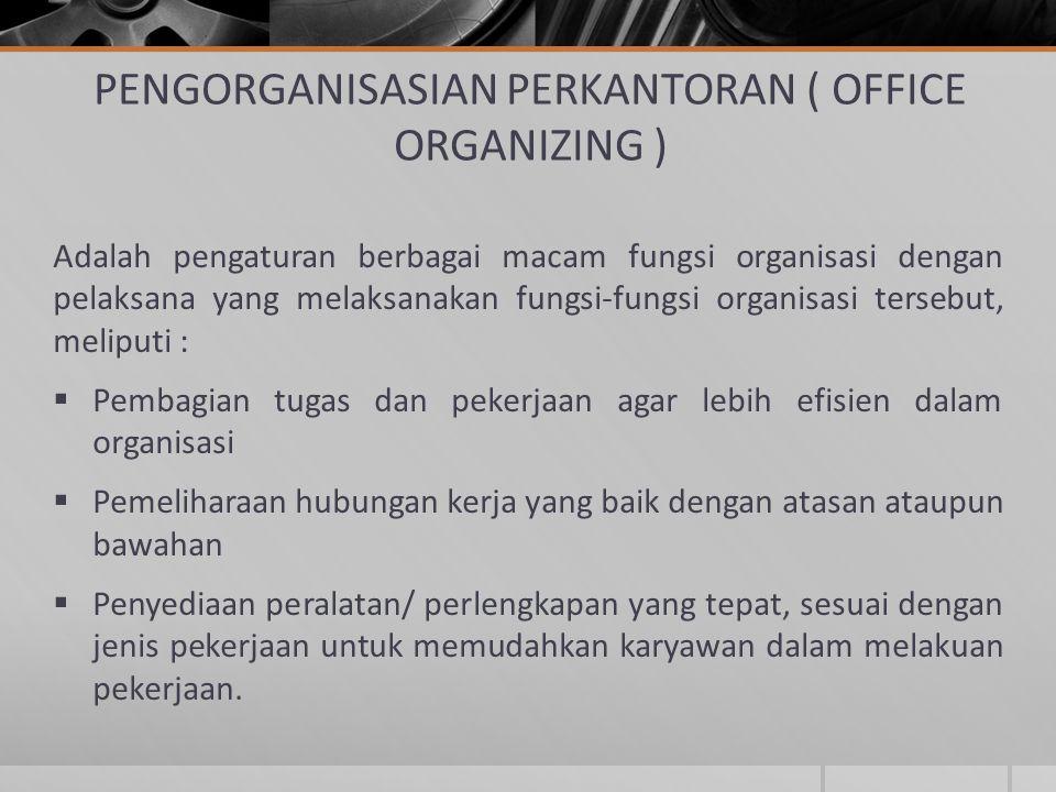PENGORGANISASIAN PERKANTORAN ( OFFICE ORGANIZING )