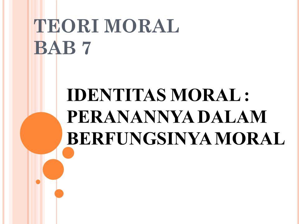 IDENTITAS MORAL : PERANANNYA DALAM BERFUNGSINYA MORAL