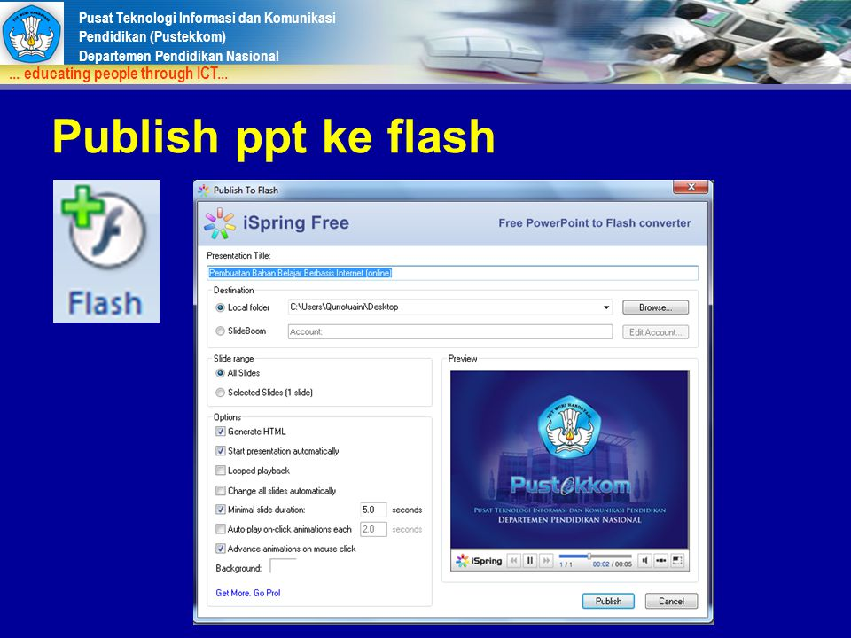 Publish ppt ke flash