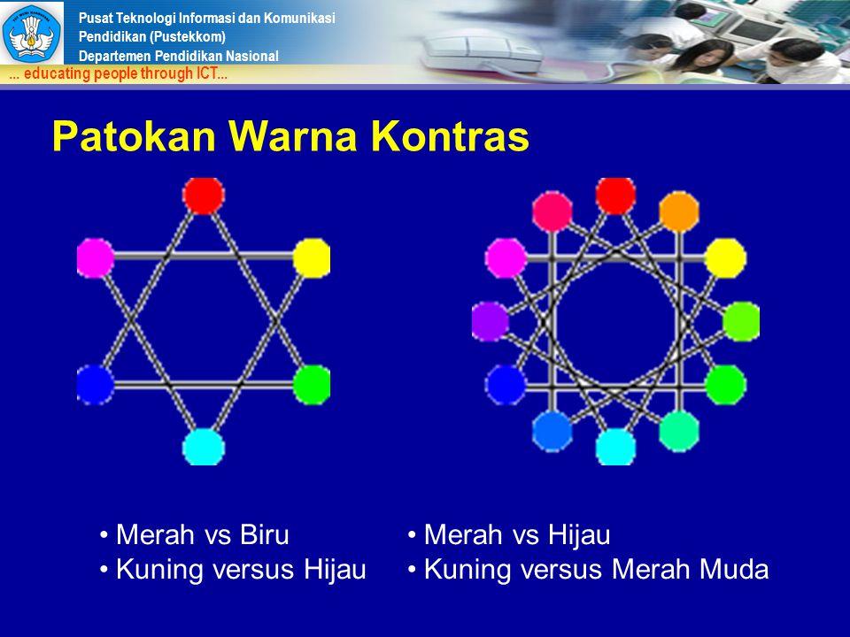 Patokan Warna Kontras Merah vs Biru Kuning versus Hijau Merah vs Hijau