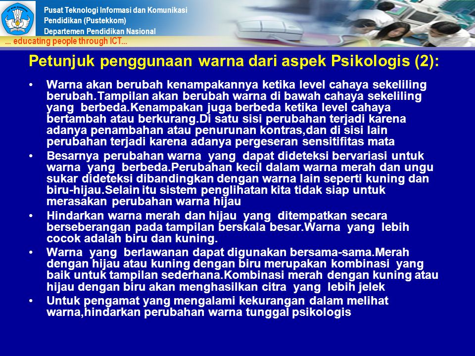 Petunjuk penggunaan warna dari aspek Psikologis (2):