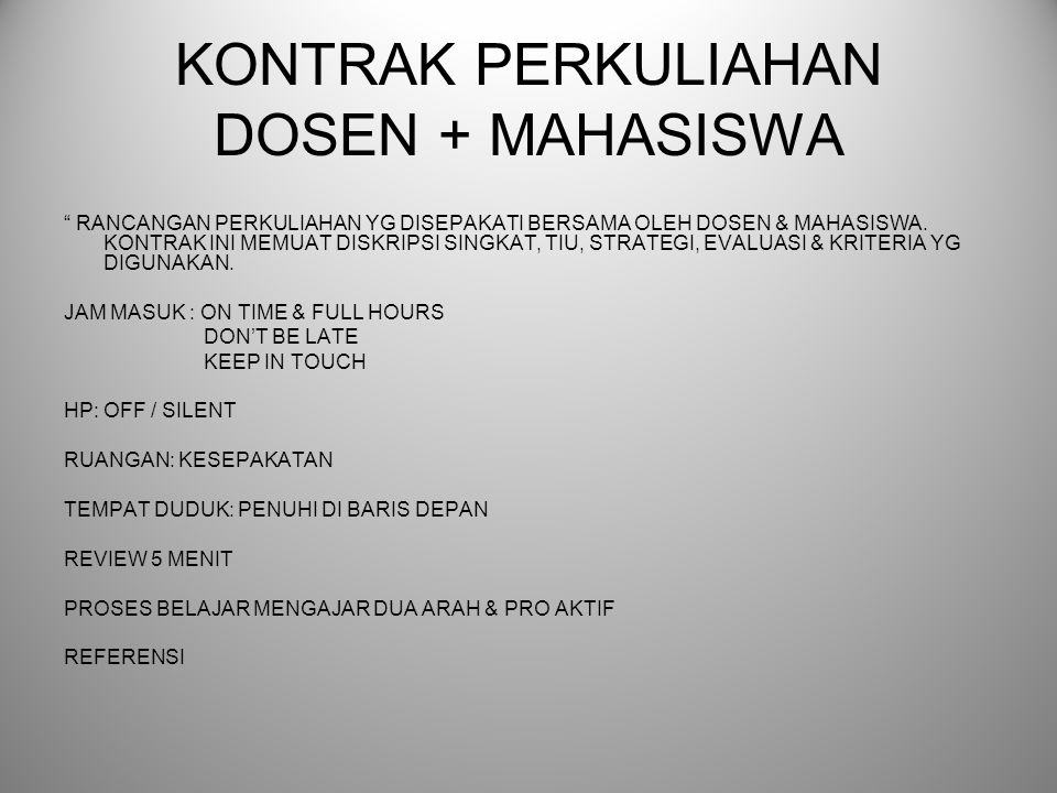 KONTRAK PERKULIAHAN DOSEN + MAHASISWA