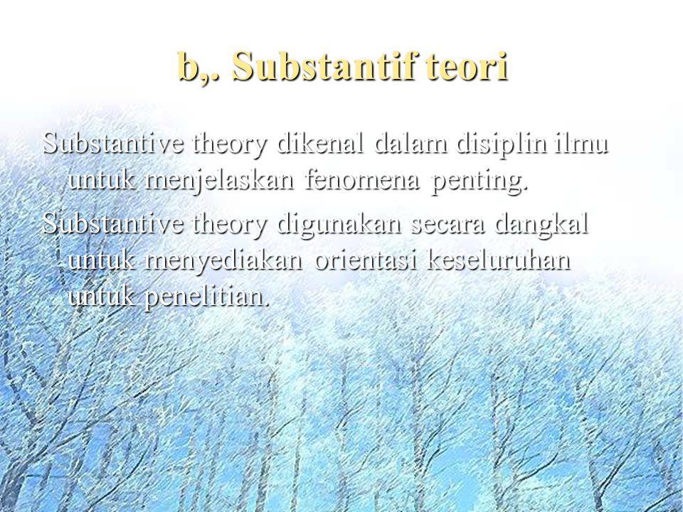 b,. Substantif teori Substantive theory dikenal dalam disiplin ilmu untuk menjelaskan fenomena penting.