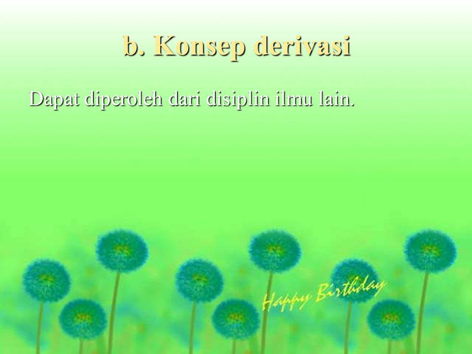 b. Konsep derivasi Dapat diperoleh dari disiplin ilmu lain.