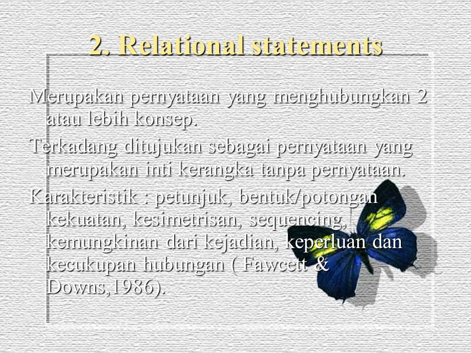2. Relational statements