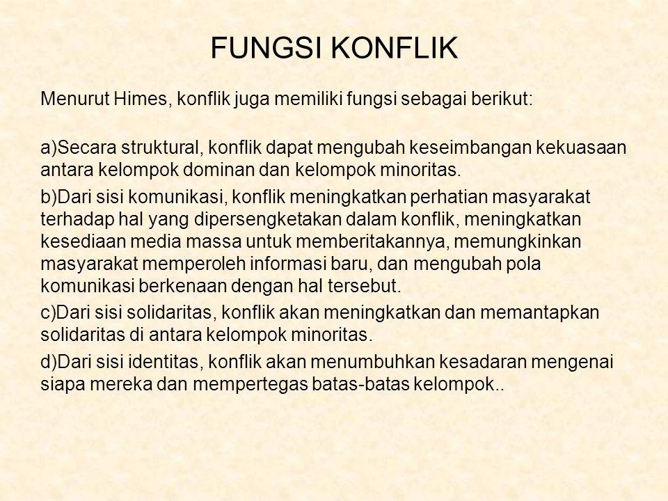 FUNGSI KONFLIK Menurut Himes, konflik juga memiliki fungsi sebagai berikut: