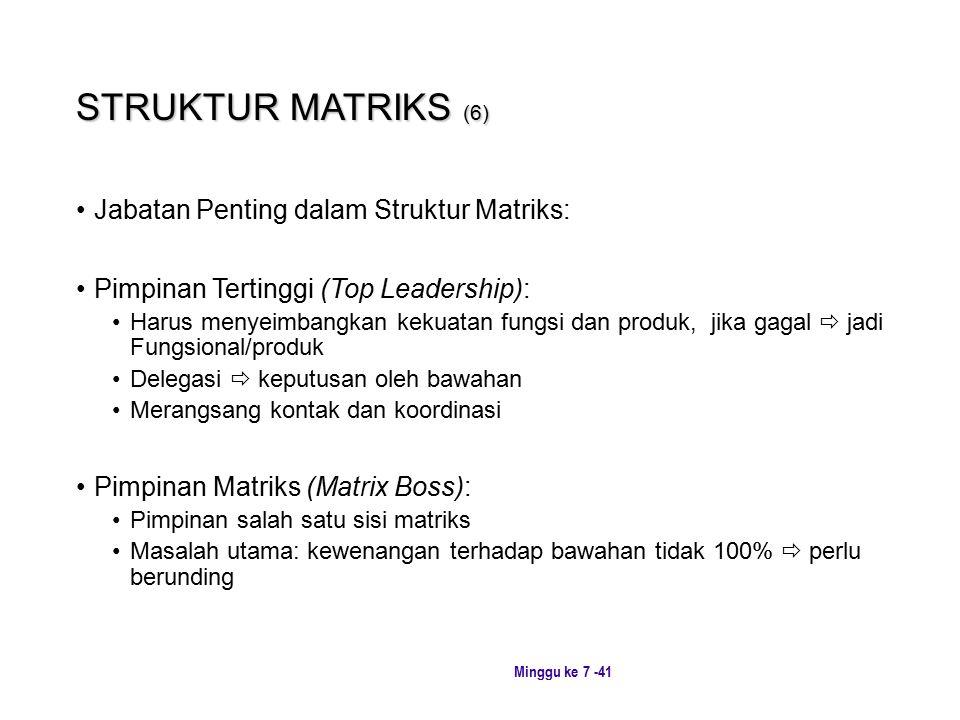 STRUKTUR MATRIKS (6) Jabatan Penting dalam Struktur Matriks: