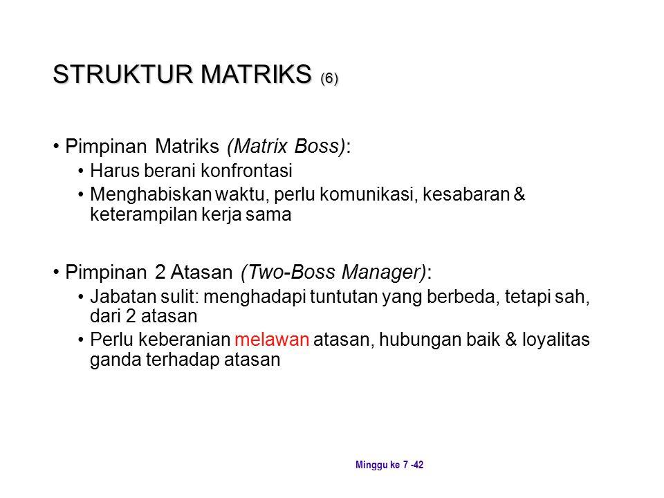 STRUKTUR MATRIKS (6) Pimpinan Matriks (Matrix Boss):