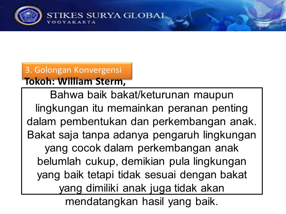 3. Golongan Konvergensi Tokoh: William Sterm,