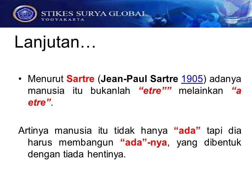 Lanjutan… Menurut Sartre (Jean-Paul Sartre 1905) adanya manusia itu bukanlah etre melainkan a etre .