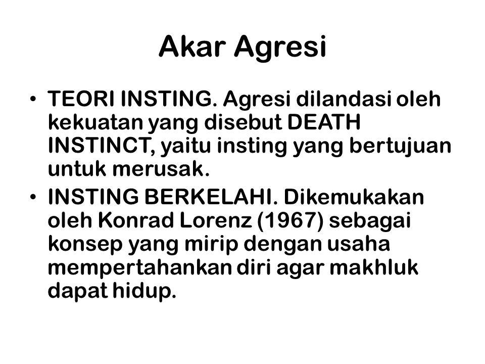 Akar Agresi TEORI INSTING. Agresi dilandasi oleh kekuatan yang disebut DEATH INSTINCT, yaitu insting yang bertujuan untuk merusak.
