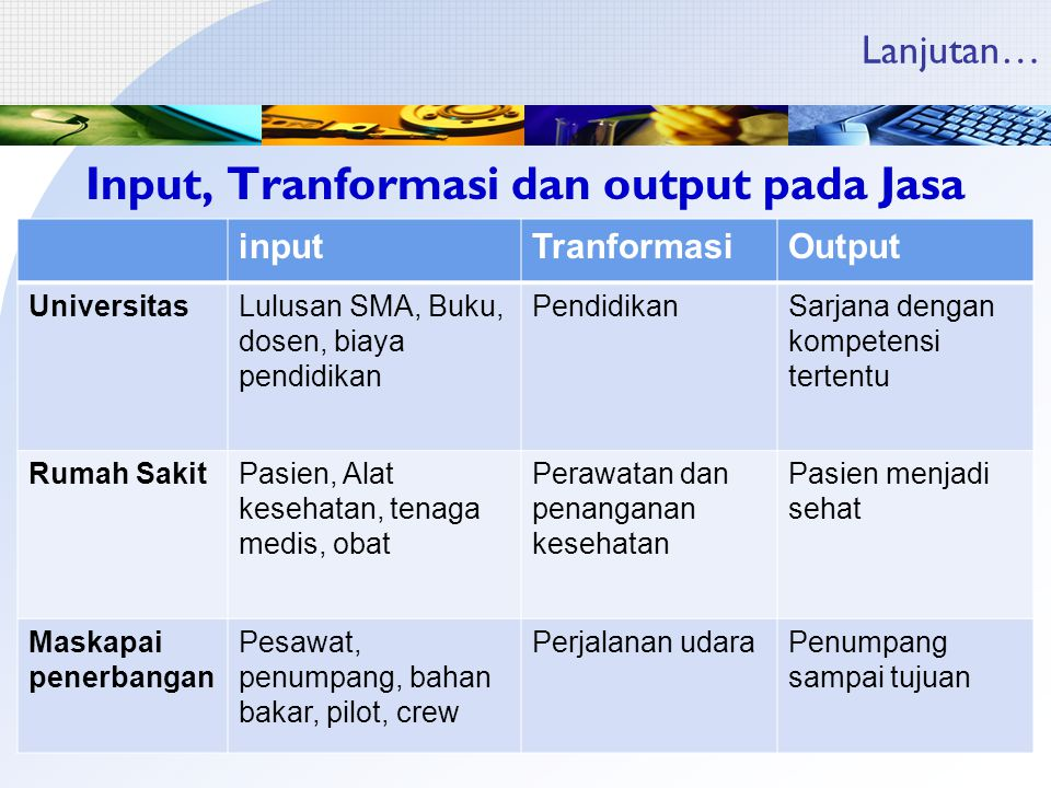 Input, Tranformasi dan output pada Jasa